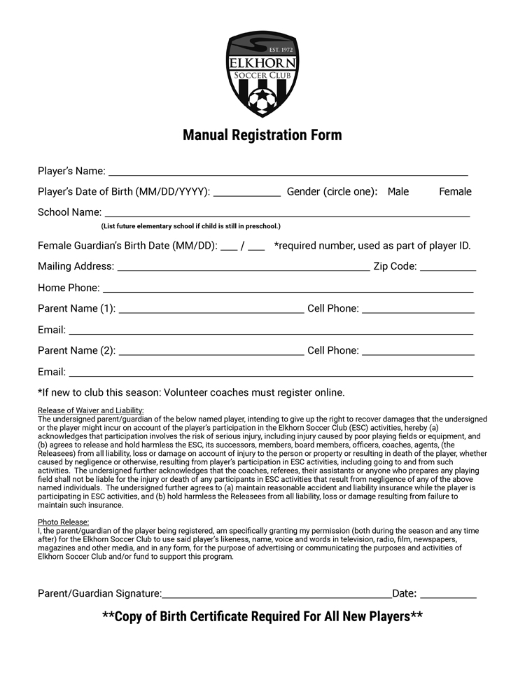 Manual Registration Form  Elkhorn Soccer Club